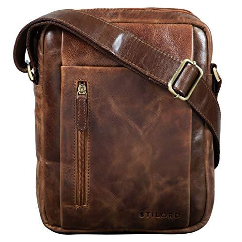 STILORD 'Irving' Vintage Leder Tasche Braun klein Umhängetasche für 10,1 Zoll und iPad Tablettasche DIN A5 Handtasche Messenger Bag Echtleder, Farbe:antik - braun -