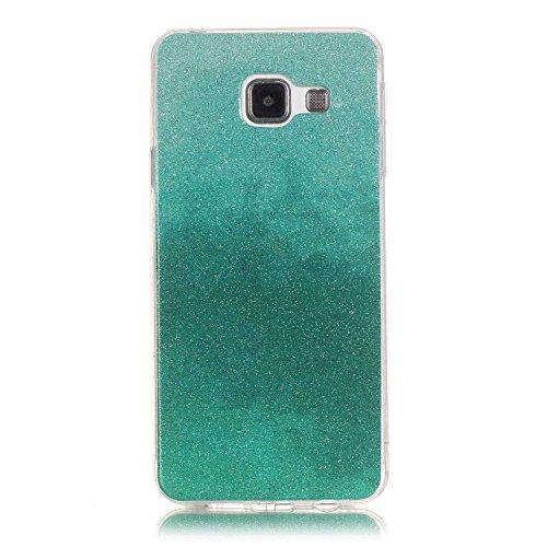 Samsung Galaxy A3 (2016) A310 Hülle,Samsung Galaxy A3 (2016) A310 Case,Cozy Hut® TPU Case Schutzhülle Protection Protective Haut und Soft Schutz Tasche Etui Bumper Farbmalerei Blau Kleine Sterne Punkt Muster (Grüner Haut Passen)