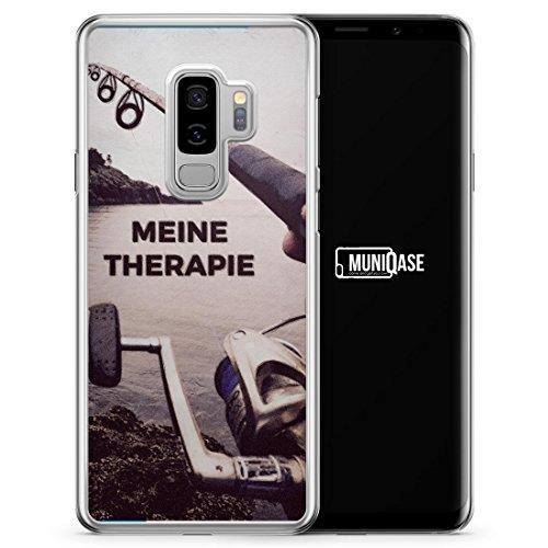 Plus Therapie (Meine Therapie Angeln Angler - Hülle für Samsung Galaxy S9+ [Plus] - Motiv Design Spruch Schön - transparente durchsichtige Handyhülle Hardcase Schut)