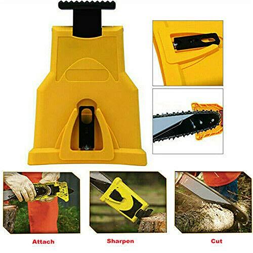 NEU Kettensägen-Zahnkettensägen-Kettenschärfwerkzeug-Schärfgerät-Schärfstab-mit Schärfstein für 14/16/18/20-Zoll-Kettensägen und Benzinsägen (Gelb)