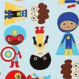 hellblauer Kinder Superhelden Stoff von Robert Kaufman USA