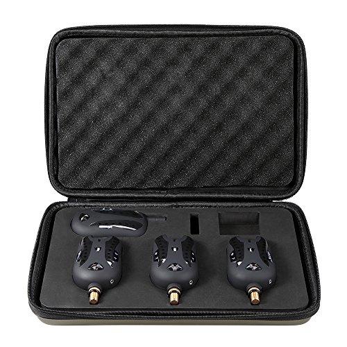 Lixada Funk Bissanzeiger Set Wireless Digital Angeln Alarm Angeln Empfänger Ton Alarm Kit Led Alarmanzeige mit Portable Case