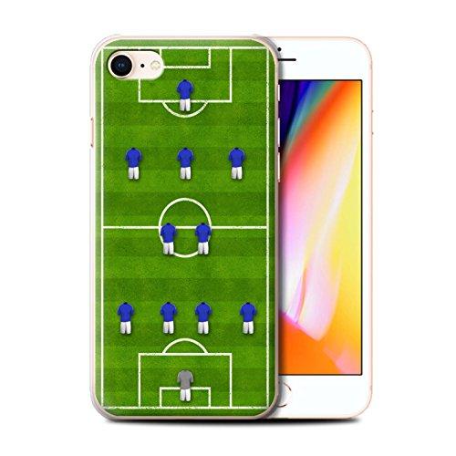 Stuff4 Hülle / Case für Apple iPhone 8 / 4-1-2-1-2/Blau Muster / Fußball Bildung Kollektion 4-2-3-1/Blau