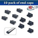 2Meter Negro Brillante Mini U-Line–Perfil led de Aluminio/extrusión/Canal opalino (lechoso) difusor para Montaje Flexible Tira de Luces LED de iluminación, Aluminio, 10 x End Caps