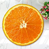 WANINE Alfombra De Franela De Fruta Redonda Alfombra De Dormitorio Silla De Computadora Yoga Naranja Amarillo Verde Color Almohadilla De Limón-Naranja_Los 55Cm