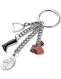 Porte-clés avec 4 breloques, étrier, botte d'équitation, selle et insigne avec cheval, fon