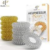 Akupressur Ring 10er Set - Hochwertiger Akupressurring Finger Massage Ring (Silber+Gold, 10er Set)