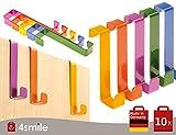 CROCHET DE PORTE multi-colores Porta lot de 10 de 4smile – Made in Germany ǀ crochet porte manteau inox en tôle acier laquée ǀ...