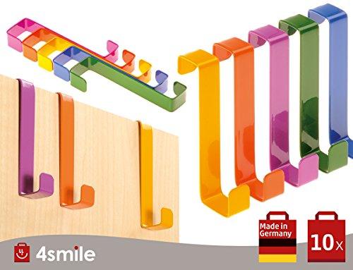 SOBRE LOS GANCHOS DE LA PUERTA 10 piezas por 4smile - Hecho en Alemania | GANCHOS reversibles para puertas y gabinetes de armarios | Perchas y ganchos de las puertas | Multicolor