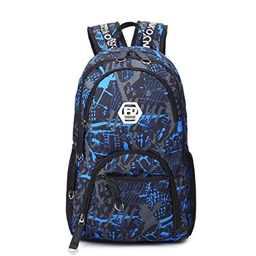 Imagen de maod  de escolar oxford tela bolsa de ordenador resistente al agua bolso del senderismo juveniles casual backpack de viaje diario azul 1