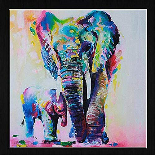 5D DIY Diamond Painting by Numbers Kits, Crystal Full Drill Embroidery Cross Stitch Rhinestone Mosaic Drawing Art Craft Home Wall Decor, Elephant 11.8*11.8 Inch