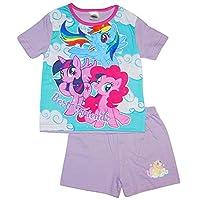 100% Official Merchandise Kids Childrens Girls My Little Pony 2 Piece Shortie Pyjama Set, Best Friends, 9/10