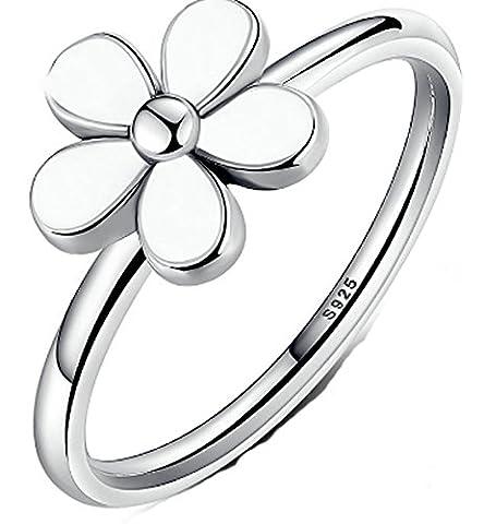 SaySure- 925 Sterling Silver Ring Elegant White Flower (SIZE : 7)