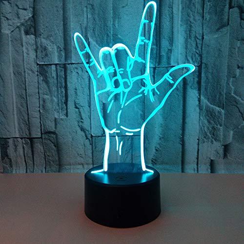 YDBDB Nachtlicht Optische Täuschung Ich liebe dich Gebärdensprache Led 3D Tabelle Usb Romantische Valentinstag Dekoration Geschenk 3D Leuchte