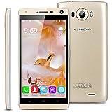 """Landvo V11 - Smartphone Móvil Libre 3G(Pantalla 5.0"""", Android 5.1, 4GB ROM, Quad-Core 1.3GHz, Dual SIM), Dorado"""