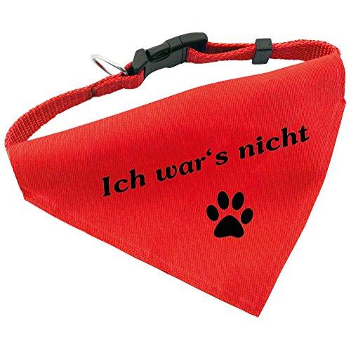 Hunde-Halsband mit Dreiecks-Tuch ICH WAR'S NICHT, längenverstellbar von 32 - 55 cm, aus Polyester, in rot (Hunde Große Pet-tücher Für)