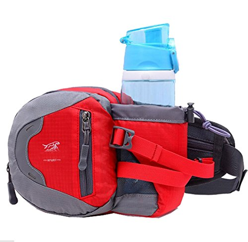 lethigho wasserabweisend leicht Taille Rucksack Fahrrad Outdoor Sports Gym Taille Tasche mit Wasser Flasche (nicht im Lieferumfang enthalten) Halter für Running Outdoor-Reise Camping Klettern Fashion  Rot