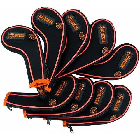Pro-Tekt Deluxe - Lote de 9 fundas con cremallera para cabeza de hierros, color negro y naranja