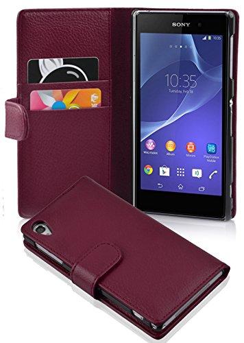 Cadorabo Hülle für Sony Xperia Z2 Hülle in Handyhülle mit Kartenfach aus Struktriertem Kunstleder Case Cover Schutzhülle Etui Tasche Book Klapp Style Bordeaux Lila