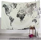 Einfarbig Aquarell Weltkarte Wandteppich Rosa Farbe Globale Karte Wandkunst Tapisserie Dekorative Farbe Splatter Weltkarte Wandbehang Bohemien Hippie Wanddecke Mandala Wandtuch 71 * 79in
