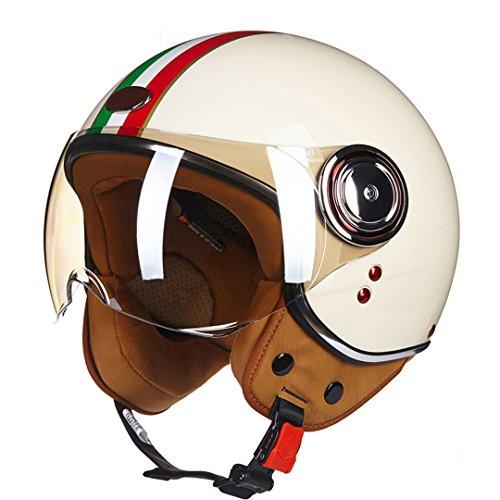 Harleeyr Motorradhelm-Weinlese-Roller-Erscheinen-Sturzhelm Retro Elektrischer Fahrrad-Sturzhelm-Italienische Flaggen-Motorrad Italy Flag XL -