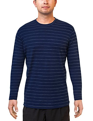 Woolx Men's Explorer Midweight Merino Wool Base Layer Crew Neck Top for Warmth, Iceberg Navy, XX-Large