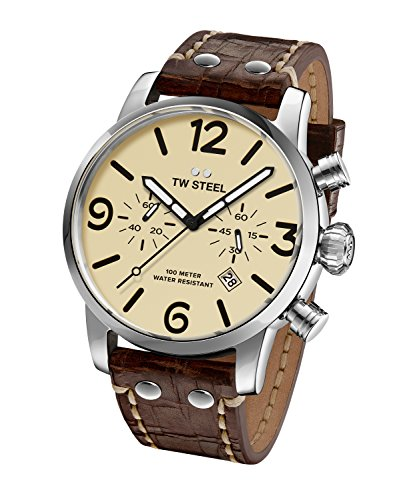 TW Steel Reloj Análogo clásico para Hombre de Cuarzo con Correa en Cuero MS24