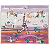 Eiffel Textile Baby Francia - Alfombra, color malva y naranja
