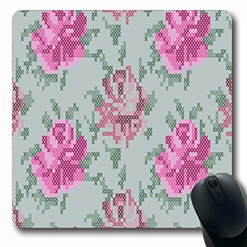 Mousepads Grüner Garten Kreuzstich Rosen Muster Blatt Natur Pixel Abstrakt Botanische Leinwand Design Farbe rutschfeste Gaming Mouse Pad Gummi Längliche Matte -