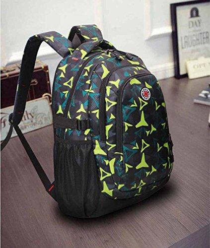 AllureFeng Outdoor-Bergsteigen Tasche Rucksack Mode Freizeit männliche und weibliche High-School-Schüler Rucksäcke Wanderrucksäcke Green