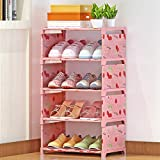 Getko With Device 5 Layer Shoe Rack Non-Woven Fabric Shoe Organizer Storage Shelf Shoe Cabinet Easy Assemble Bookshelf for Bedroom, Living Room (Random Design & Color)