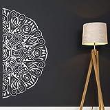 zqyjhkou Half Mandala Decal Mandala Car Decal Headboard Master Bedroom Wall Decal Boho Hippie Bohemian Decor Vinyl Wall Sticker Mt13 L 114x57cm