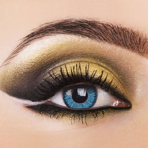 Farbige Kontaktlinsen Blau Aqua blaue Kontaktlinsen farbig ohne Stärke mit Kontaktlinsenbehälter