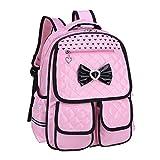Nlyefa Mochila para niños Mochila para niños PU Mochila escolar para adolescentes Impermeable estilo princesa