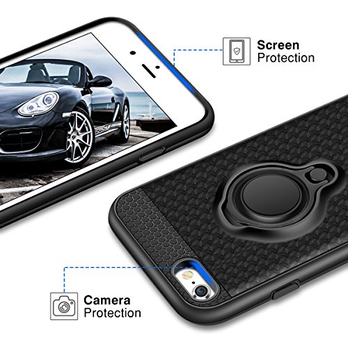 iPhone 7 Hülle, iPhone 8 Hülle, Coolden® Premium [Kickstand] Handyhülle mit KFZ Handy Halter Finger 360 Grad View Ständer Soft Silikon + 3D Glitzer Hardcase + Metallplatte Outdoor Stoßfest Schutzhülle für iPhone 7/8 (Schwarz)