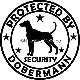 Hunde Aufkleber Dobermann Pinscher Security Folie Sticker Ø150 mm