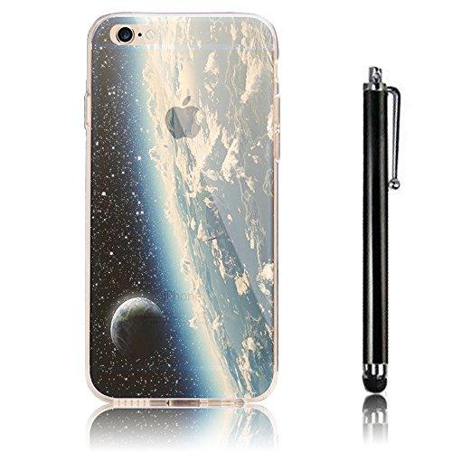 iPhone 6 Case , iPhone 6S Custodia (4.7),Ultra Slim Thin Crystal TPU Paesaggio Morbido Bumper Case + Stylus Screen Touch Pen – Sky model 10