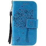 ISAKEN Galaxy S3 Mini Hülle, PU Leder Geldbörse Case Ledertasche Handyhülle Tasche Schutzhülle Hülle mit Handschlaufe für Samsung Galaxy S3 Mini I8190 I8200 - Baum Katze Blau
