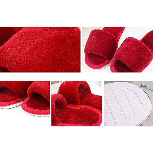 Eastlion di da uomo peluche Anti-Skid interne tenere in caldo Scarpe Pantofole per lautunno / inverno delle donne Verde