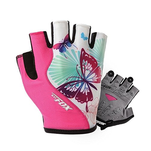 AiQi Women And Men Gel Padded Cycling Fingerless Half Finger Gloves (Pink, L Palm Width 3.35''-3.7'')