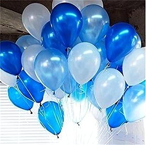 PuTwo Party Balloons 12 Inch 100 Pcs White & Blue