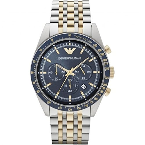 Emporio Armani Men's Quartz Watch with Blue Dial Chronograph Display and Gold Stainless Steel Bracelet AR6088