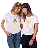 Beste Freunde Shirts für Zwei Mädchen Damen Best Firends T-Shirt Tops Freundschaft Geburtstagsgeschenk 2 Stücke Süße Cartoon T-Shirts Sommer Tops(Weiß,Gelber Rock-S+Orange Rock-S)