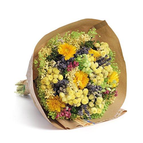 Ramo de flores secas, principalmente Helycrisum y lavanda, inspirado en los colores y aromas de Provenza. El ramo está decorado con una bolsa de colores delicados. Todos los materiales son flores secas de colores naturales o bien teñidas de colores d...