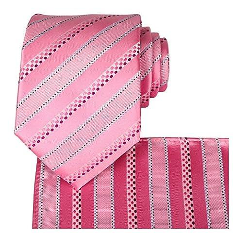 Kissties - Boite à cravate - Rayures - Homme - rose - Taille Unique