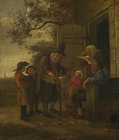 Das Museum Outlet–Jan Steen–A Pedlar Verkauf Brille Außerhalb eines Cottage, gespannte Leinwand Galerie verpackt. 40,6x 50,8cm