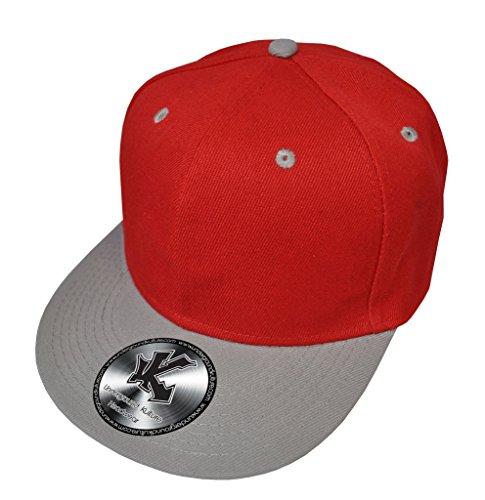 Caquette de Baseball Réglable 2 couleur Rouge & Gris (Red / Grey Snapback)