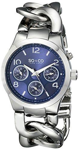 So & Co New York SoHo 5013.6 - Orologio al quarzo, da donna, quadrante analogico color blu e cinturino in acciaio inossidabile colore argento