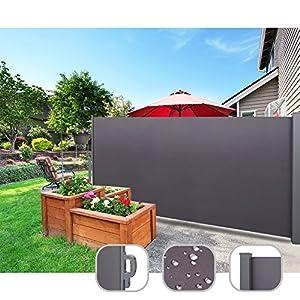 CCLIFE Seitenmarkise Ausziehbar Sichtschutz Windschutz Sonnenschutz TÜV mit Alu-Rolle, Farbe:Anthrazit, Größe:180x300cm