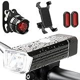 5 Fahrrad LED Licht Set 1 Bicycle Frontlicht 1 Bike Red Rücklicht StVZO genehmigt USB-wiederaufladbare Radfahren Licht 180 Lumen + 2 Reflektoren 1 Handy-Halter Motorrad Schutzhülle für Smartphone GPS.